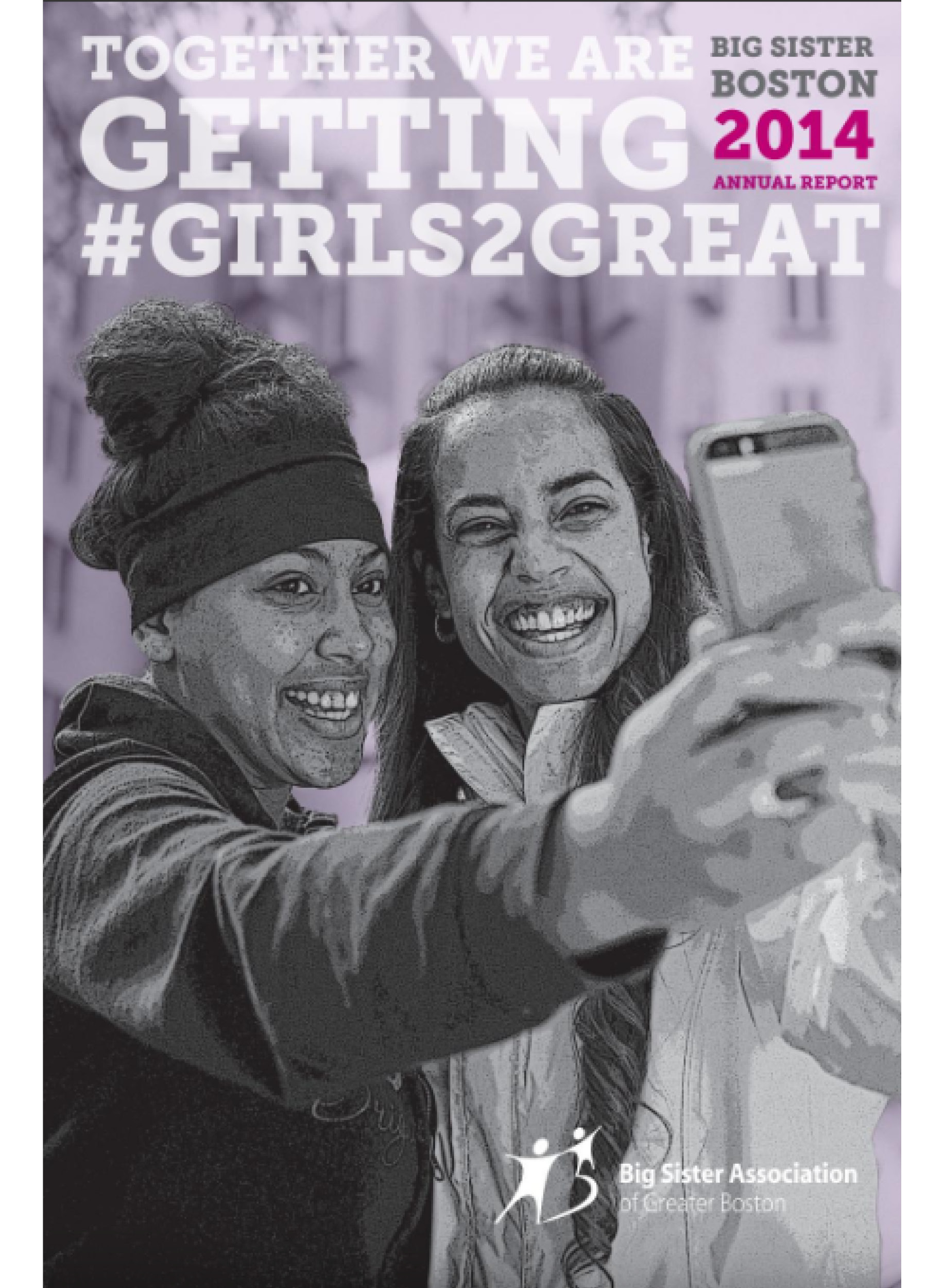 cover of the 2014 big sister annual report with two women taking a selfie