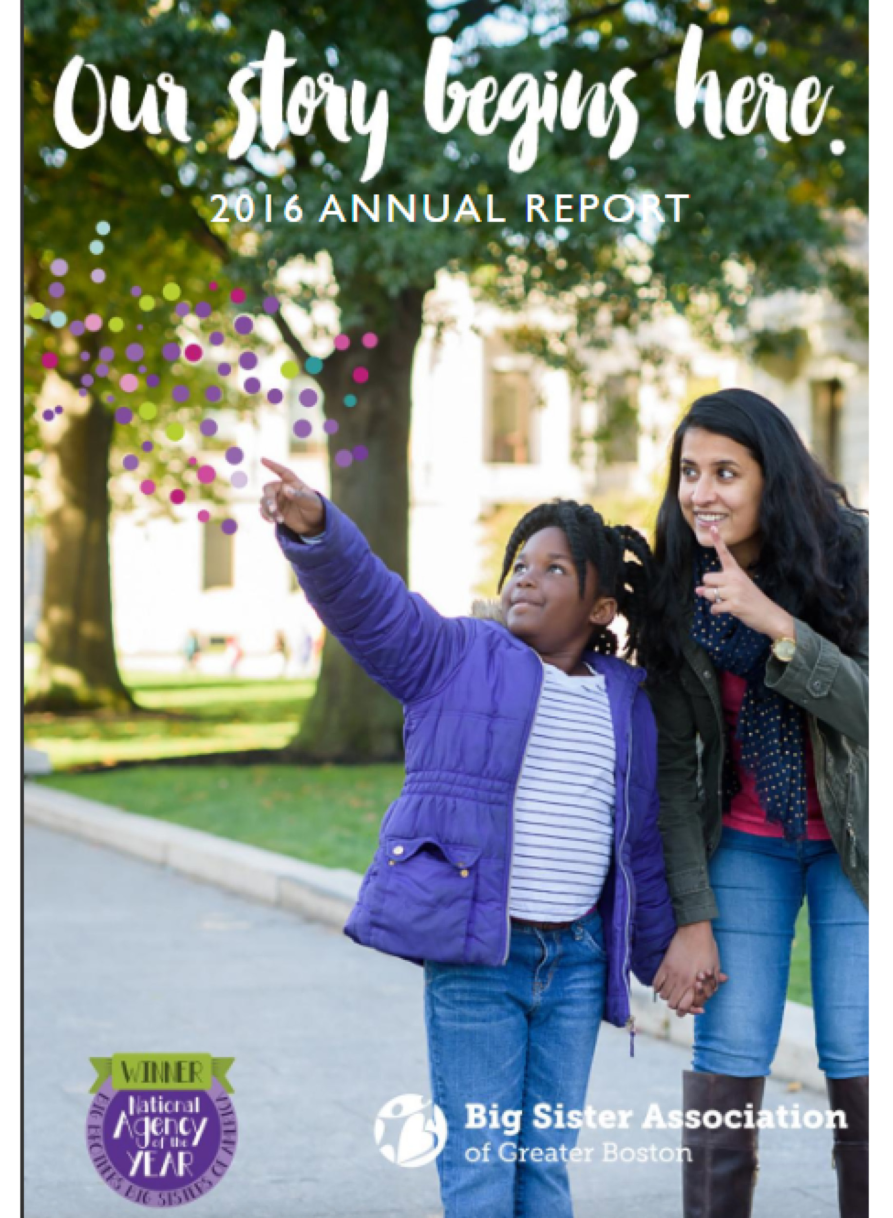 cover of the 2016 big sister annual report showing two girls pointing